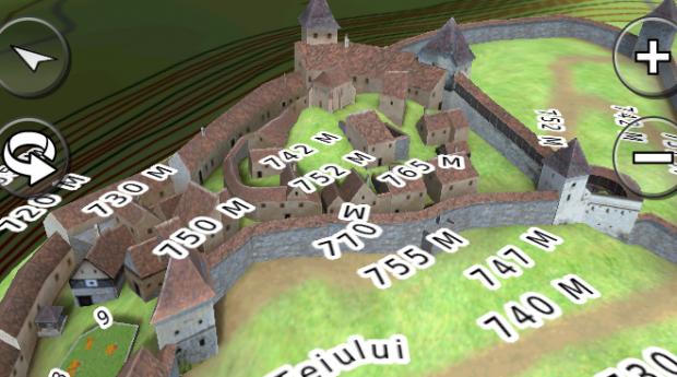Harta GPS cu reconstituiri 3D precum Cetatea Rasnov, Podul de la Cernavoda si Castelul Pelisor din Sinaia