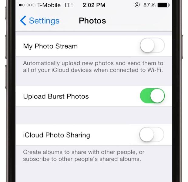 Nu lasa pozele sa se uploadeze cu ajutorul Wi-Fi-ului - cand te conectezi la Wi-Fi, device-ul tau face sincronizarea cu iCloud. Pentru a opri asta, mergi la Settings > iCloud > Photos si dai disable la My Photo Stream. La fel si la iCloud Photo Library