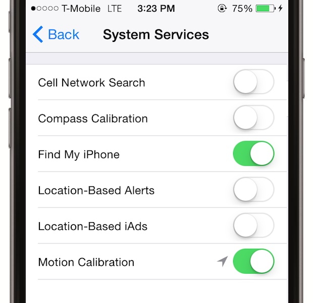 Dai disable la serviciile de sistem ce se bazeaza pe locatia ta - cand nu le folosesti direct, opreste-le. Mergi la Settings > Privacy > Location Services, mergi in jos pana la System Services si deselecteaza-le pe toate.